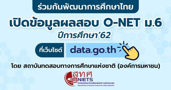 open data ข้อมูลผลสอบ O-NET ม.6